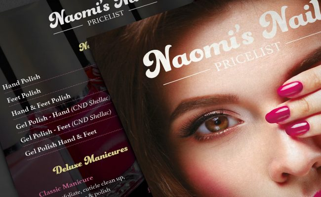 Naomi's Nails Leaflets – Front
